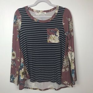 Andree by UNIT Blouse Small Stripe & Floral Small